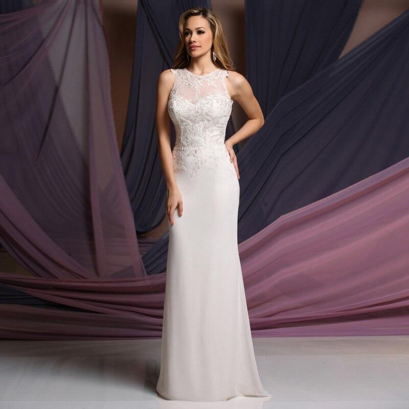 Style Simple avec Appliques en mousseline de soie Vestido de noiva sans manches 2016 robe de mariée avec des robes de demoiselle d'honneur à bas prix