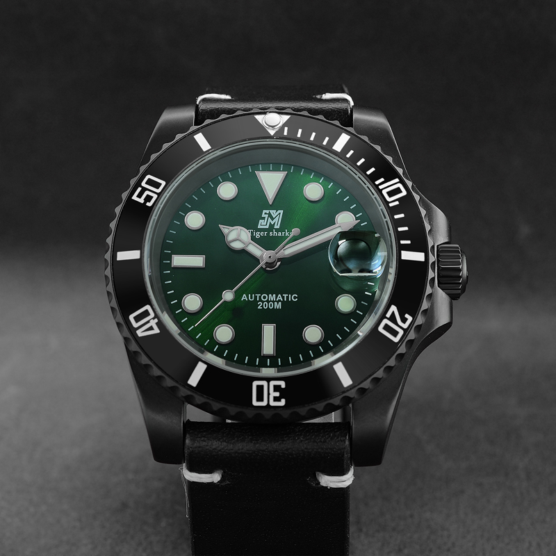 San Martin Automatic Watch Fashion Stainless Steel Watch 200m Water Resistant Black Green Dial Casual Diving Sports WristwatchSan Martin Automatic Watch Fashion Stainless Steel Watch 200m Water Resistant Black Green Dial Casual Diving Sports Wristwatch