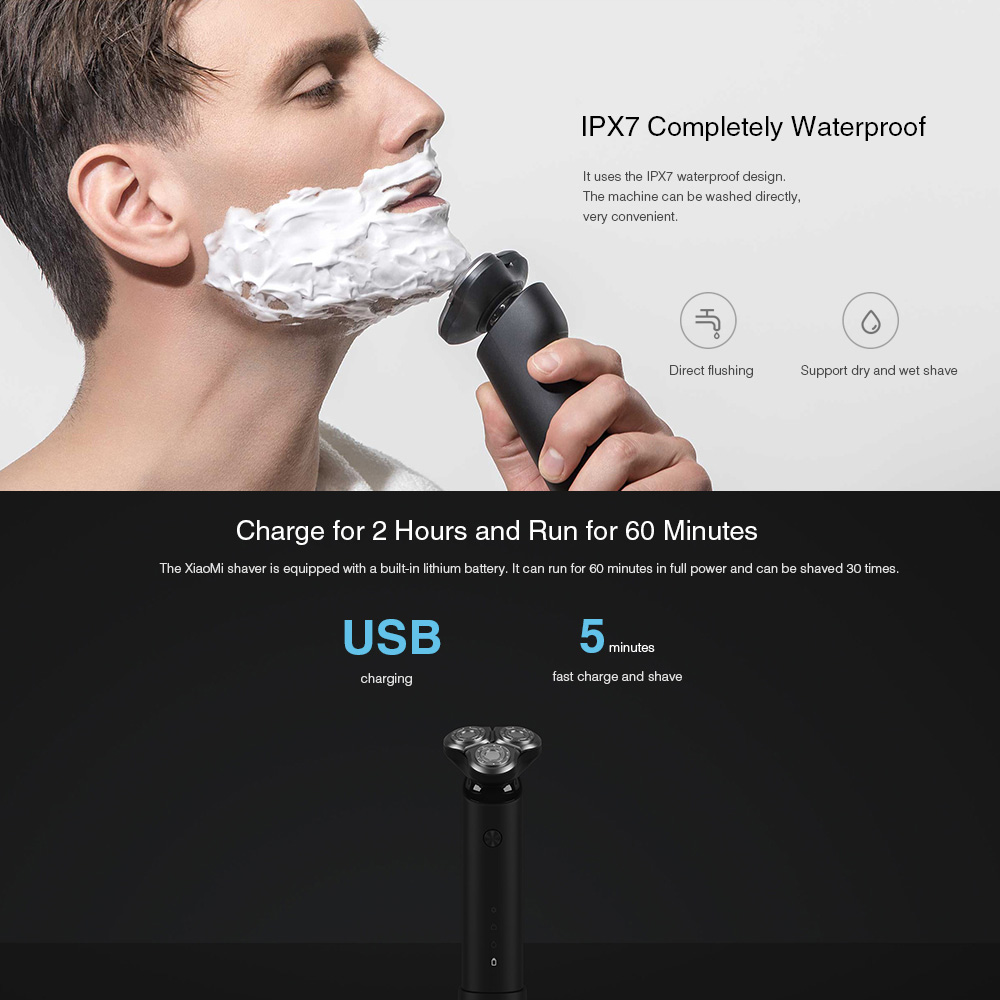 Xiaomi Electric Shaver for men beard trimmer razor xiaomi shaver shaving machine original 3 heads dry wet shave washable razor 5