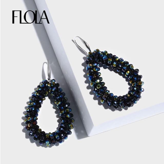 29520b55bc97b FLOLA 10 Colors Crystal Beads Earrings for Girl Boho Pendientes Red Beads  Dangle Earrings Ear Oorbellen Jewelry Brincos ersn51