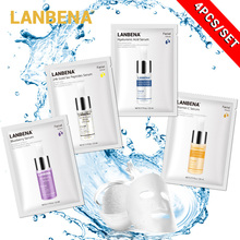4pcs Lanbena Hyaluronic Acid Serum Face Mask+24k Gold Six Peptides+vitamin C+blueberry Anti-wrinkles Facial Sheet Mask Care