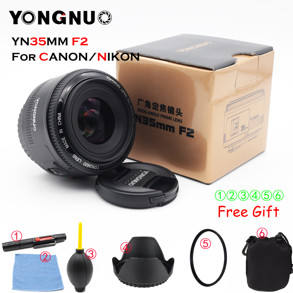 Yongnuo 35mm lens YN35mm F2.0 lens Wide angle Fixed dslr camera Lens For canon 600d 60d 5DII 5D 500D 400D 650D 600D 450D 60D 7D купить в Москве 2019