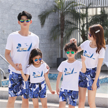 Family Matching Outfit Summer Mother Daughter Bohemian Dress Dad And Son Clothes Short Sleeve T-Shirt