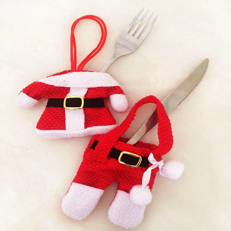 6Pcs New Year Chirstmas Tableware Holder Knife Fork