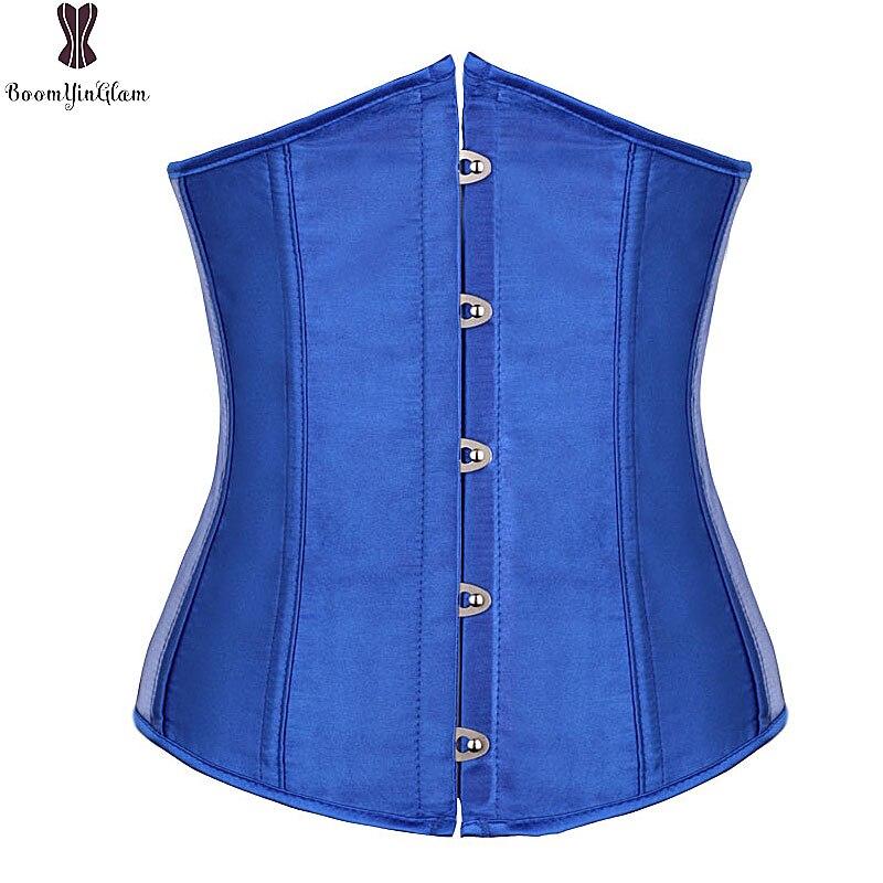 Underbust Satin Corset Noir Blanc Rouge Bleu Sexy Taille Corsets Femmes de Taille Plus Bustier Désossé Top Taille Formateur Serre Corselet