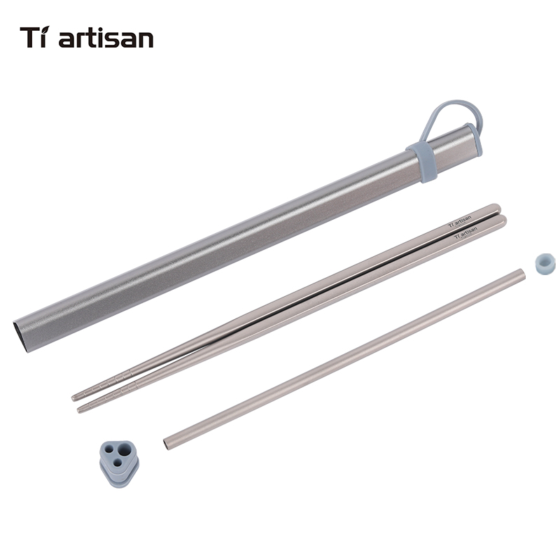 Tiartisan Kitchen Accessories Titanium Chopsticks Set Aluminum Chopsticks Box Case For Titanium Chopsticks Storage and Straw|Chopsticks| |  - title=