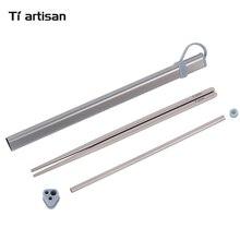 Tiartisan Kitchen Accessories Titanium Chopsticks Set Aluminum Box Case For Storage and Straw