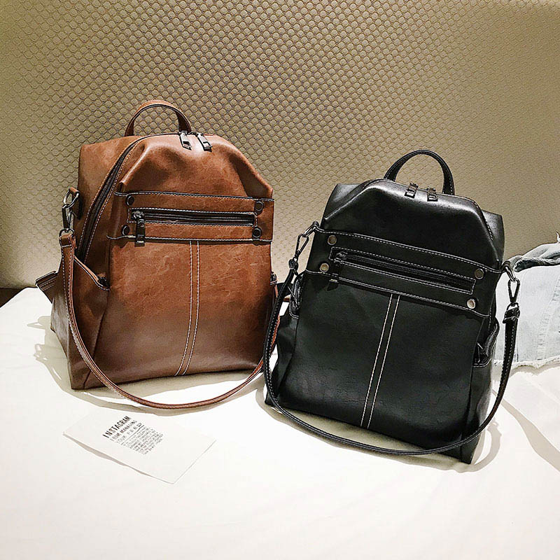 Female Backpack Leather Bagpack Women College Back Pack For School Bags Designer Retro Backpacks For Teenage Girls Brown XA200H