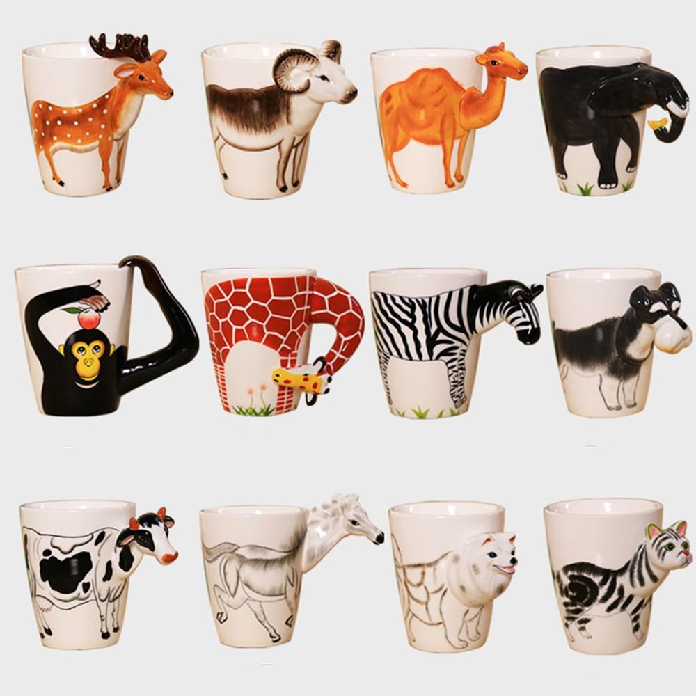 Cute animal cups juice mug 3d animal shape mugs hand for Animal shaped mugs
