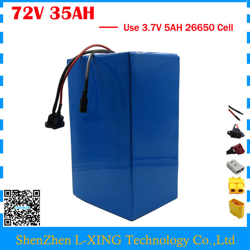 High capacity 72V ebike battery 3500W 72V 35AH Lithium battery 3.7V 5AH 26650 Cell 50A BMS with 4A Charger Free customs tax free customs taxes lithium battery 72v 25ah 26650 li ion battery pack 72v 25ah 3500w rechargeable lithium ion battery with bms