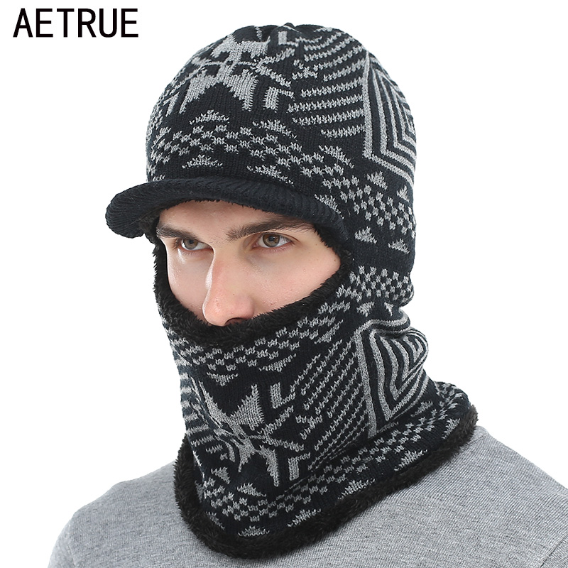 AETRUE Winter Hat Men Women Knitted Hat Scarf   Skullies     Beanies   Winter   Beanies   For Men Caps Mask Balaclava Bonnet Cap Hats 2018