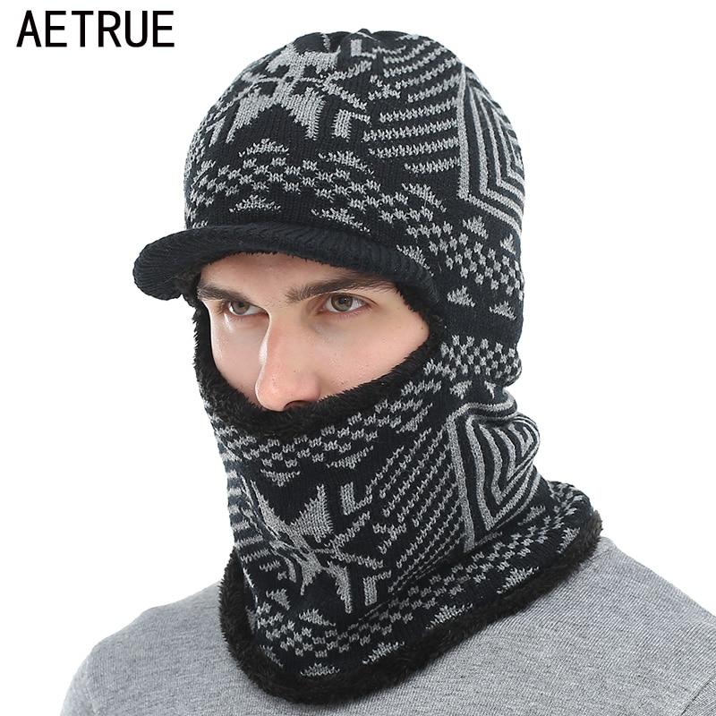 AETRUE Winter Hat Men Women Knitted Hat Scarf   Skullies     Beanies   Winter   Beanies   For Men Caps Mask Balaclava Bonnet Cap Hats 2018