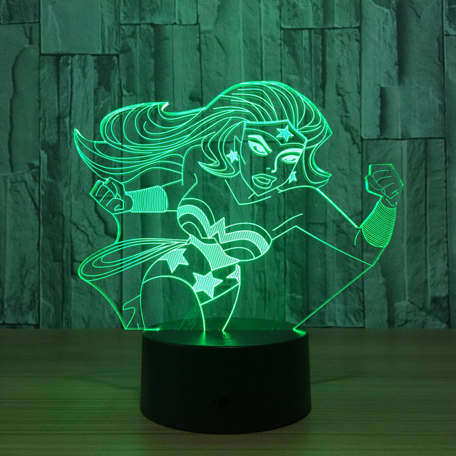 Wonder Woman 3d Lamp 7 Color Led Night Lamps For Kids Touch Led Usb