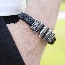 Fashion New Handmade Black Braided Genuine Leather Bracelet & Bangle For Men Stainless Steel bone bullet Bangles male Gifts