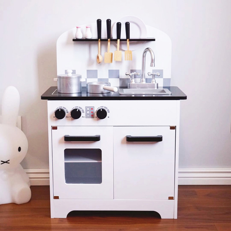 56*30*77cm Big size  Children Wooden KitchenToy Kids Wooden Hearth Kitchen Cookware Set Table for Baby Birthday Christmas Gift