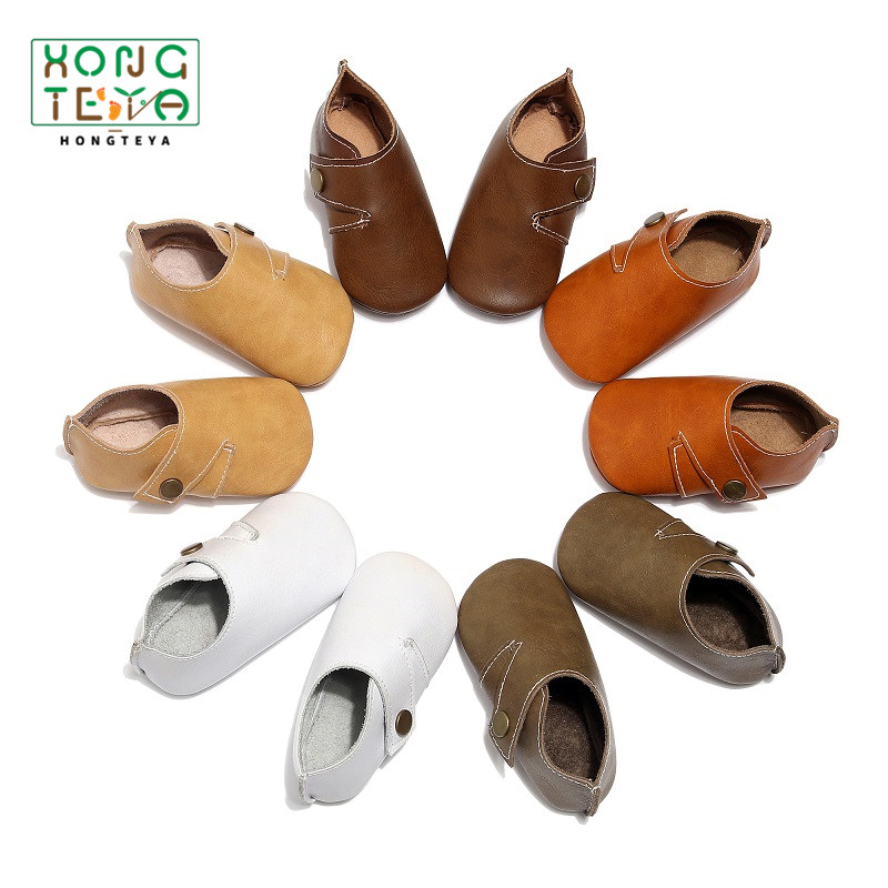 Genuine Leather British Style Baby Boy Girl Shoes Solid Soft Sole Anti-slip Footwear Baby Moccasins Prewalkers For Baby Boy0-24M