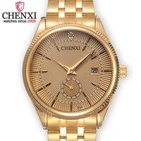 CHENXI Brand Calendar Golden Quartz Gentleman Watch Fashion Top Stainless Steel Male Watches Luxury Noble Design