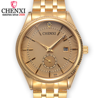 CHENXI Brand Calendar Golden Quartz Gentleman Watch Fashion Top Stainless Steel Male Watches Luxury Noble Design