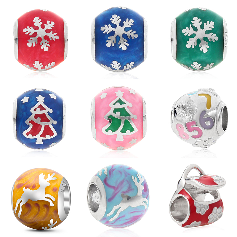 925 Sterling Silver Round Color Christmas Deer Tree Snowflake Red Handbag Digital Beads Fit Dkg Diy Bracelet Jewelry For Women Spare No Cost At Any Cost