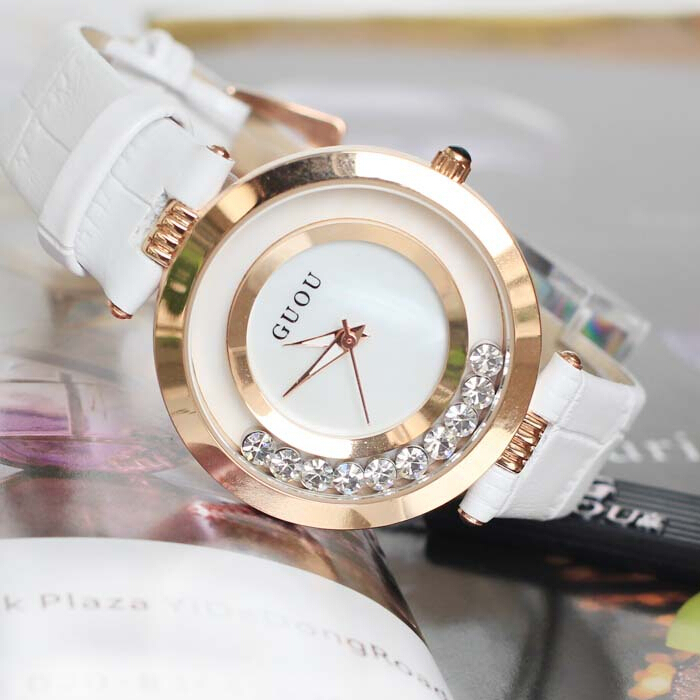 6 Colors Hot Sales Women Watches Lady Luxury Wristwatch Genuine Leather Dress Watch Women Quicksand Watches Bracelet GUOU 8039 in Women 39 s Watches from Watches