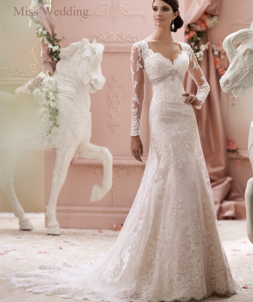 Vintage Style Lace Wedding Dresses: Vintage Inspired Long Sleeves Lace Wedding Dress DT 115240