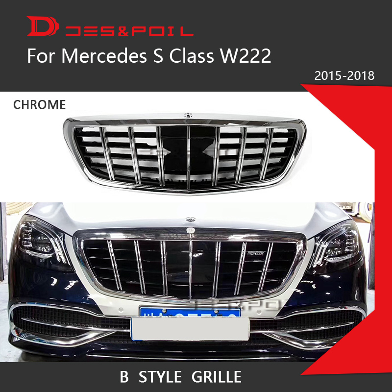 New S Class Grille For Mercedes Benz W222 Sedan Chrome Front Racing Grill 2015-2018 S320 S400 S350 S500 S450 Great Fitment grille