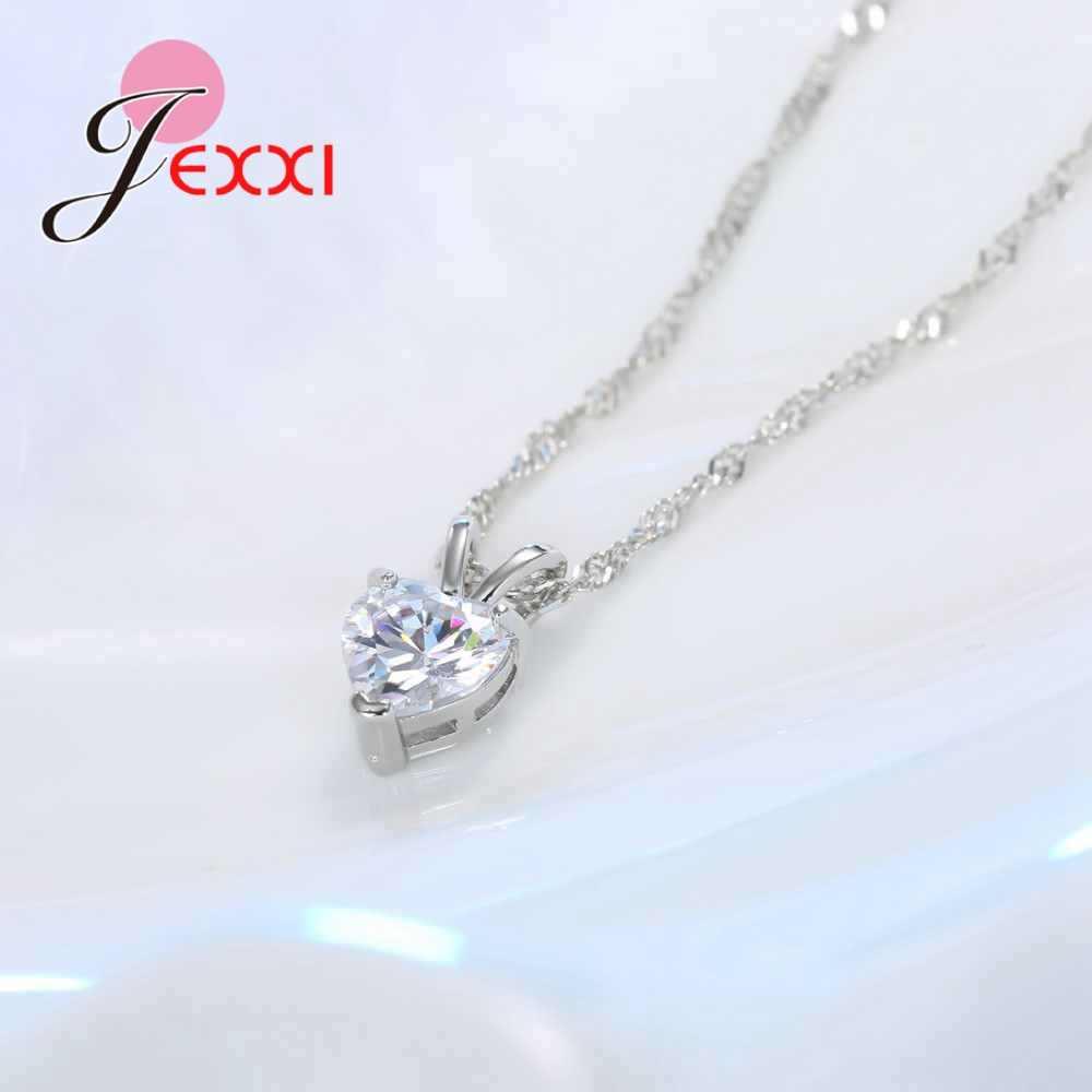 100% prawdziwe 925 Sterling Silver wisiorek naszyjnik Shining księżniczka Cut jasne serce Cubic cyrkon biżuteria ładne prezenty walentynkowe