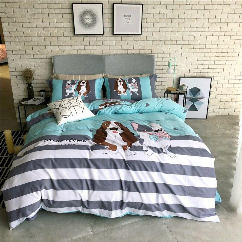 100% coton imprimé dessin animé chiens ours ensemble de literie de haute qualité 4 pièces housse de couette ensemble drap de lit taies d'oreiller reine roi taille