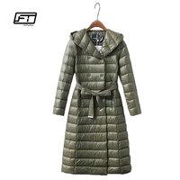 Fitaylor Winter Women Long Down Jacket Ultra Light Duck Down Hooded Parkas Slim Warm Outwear Plus