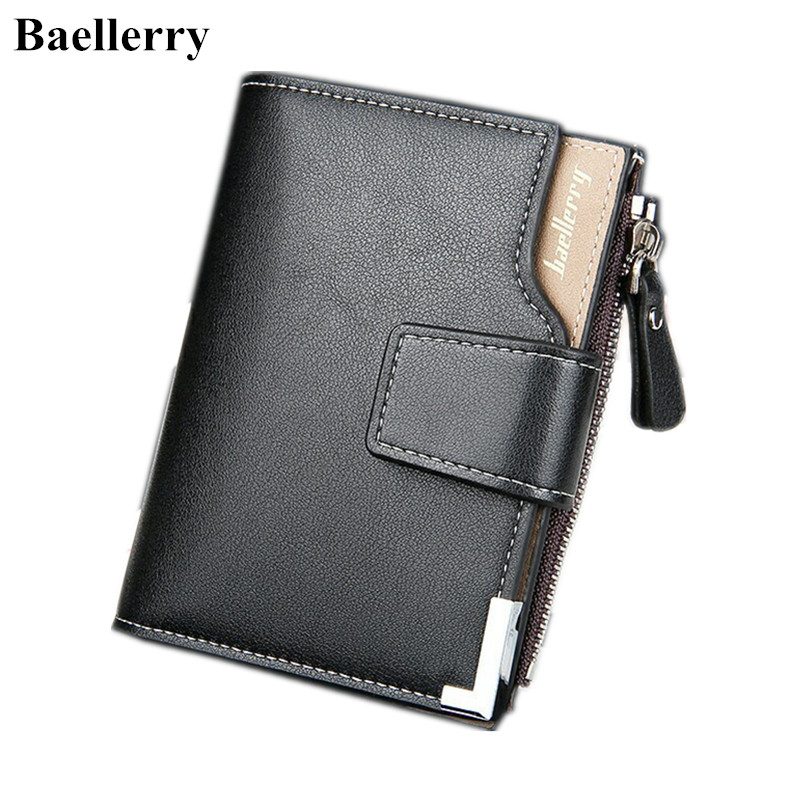 Baellerry Brand Leather Wallets Men Short Hasp Casual Black Zipper Coin Purses Male Money Bags Credit Card Holder Clutch Wallets men wallets with zipper pu leather wallet male small brown black thin credit card holder coin money purses short wallet carteira