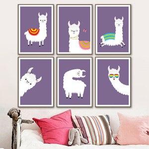 Image 2 - Lama Alpaka Cartoon Tier Kindergarten Drucke Nordic Poster Und Drucke Wand Kunst Leinwand Malerei Wand Bilder Baby Kinder Zimmer Dekor