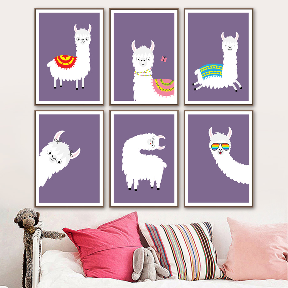 Image 2 - llama Alpaca Cartoon Animal Nursery Prints Nordic Posters And Prints Wall Art Canvas Painting Wall Pictures Baby Kids Room Decor-in Painting & Calligraphy from Home & Garden