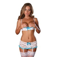 Plus Size Lingerie Sexy 3Pcs Shelf Bra Sets Lace Open Cup Bra Garter Skirt Sexy Lingerie