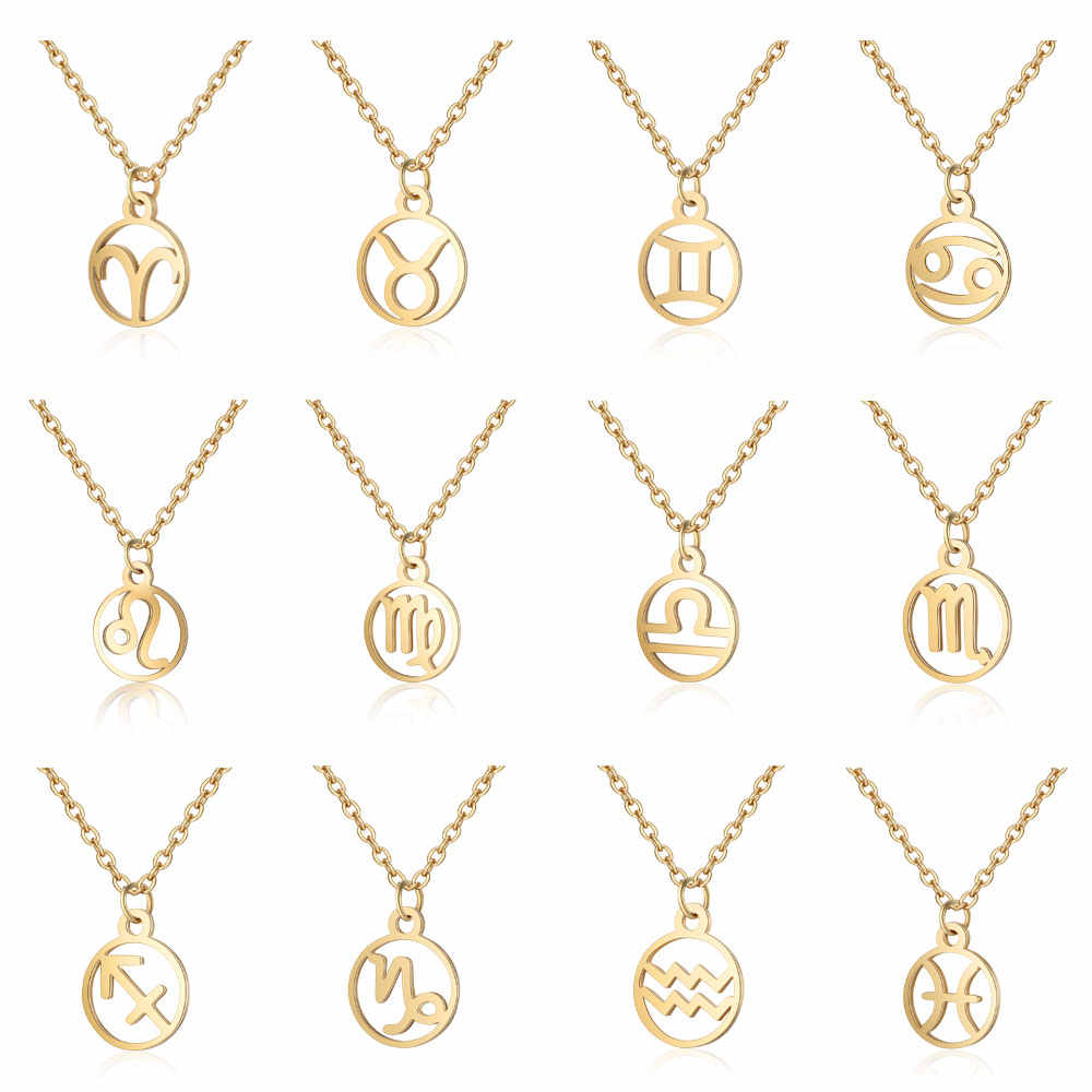 Chandler Star Zodiac Sign Necklace Stainless Steel 12 Constellation Pendant Necklace For Girls Jewelry Collares Largos Kolye