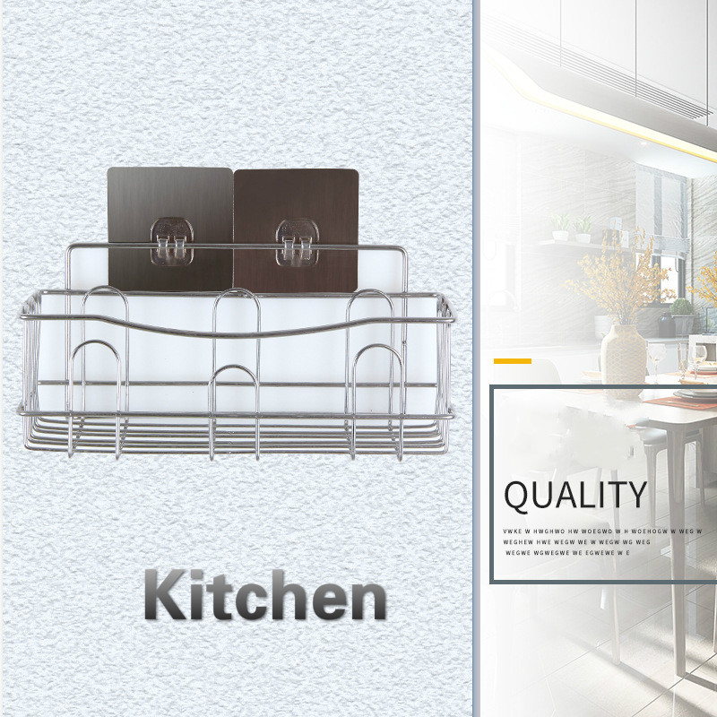 Image 2 - Cross border Dedicated For Punch free Wall Hanging Bathroom Shelf Stainless Steel Single layer Rack Kitchen Storage-in Bathroom Accessories Sets from Home & Garden