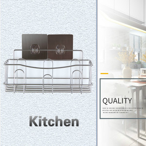 Image 2 - Cross border Dedicated For Punch free Wall Hanging Bathroom Shelf Stainless Steel Single layer Rack Kitchen Storage