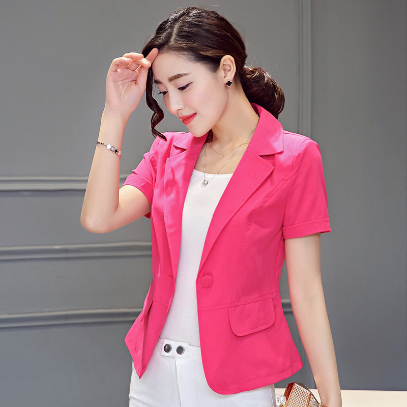 Mr.Nut Summer Thin Section Slim Slimming Lady Small Suit Jacket Black And White Rose Red Three Color Optional Suit Female