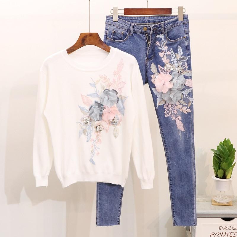 2018 Pièces Deux Costumes Mince Bleu pink Chandail Brodé Automne Trois White Longue Nouveau Dimensions Paillettes Fleurs Jeans En black Chemises r1rZpqw