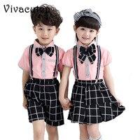 여자 아기 소년 학교 유니폼 세트 코튼 활 넥타이 스트랩 바지 투투 스커트 의류 세트 아이 수행 정장 F170