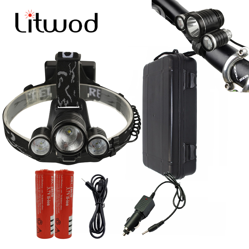 Litwod Z306633 phare LED Bick phare Cree XM-L T6 lampe Frontale vélo 2in1 veilleuse batterie Usb/voiture chargeur boîte