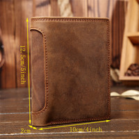 Vintage Hasp Open Genuine Leather Wallet High Large Capacity Unique Crazy Horse Genuine Leather Man Wallet
