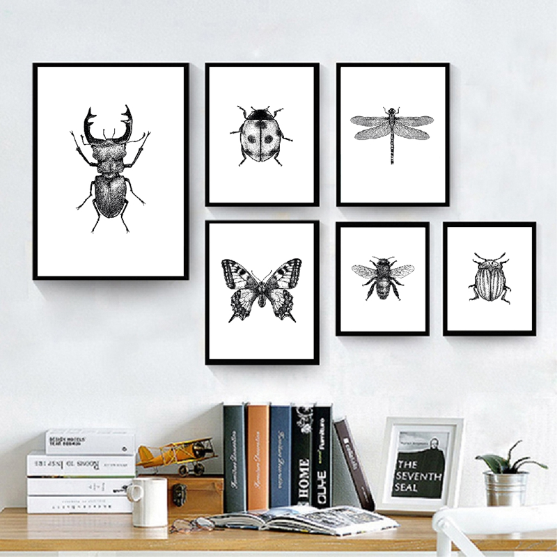 Insect Illustration Black And White Wall Art Canvas Painting Hand Drawn Bugs Insect Posters And Prints Wall Pictures Home Decor