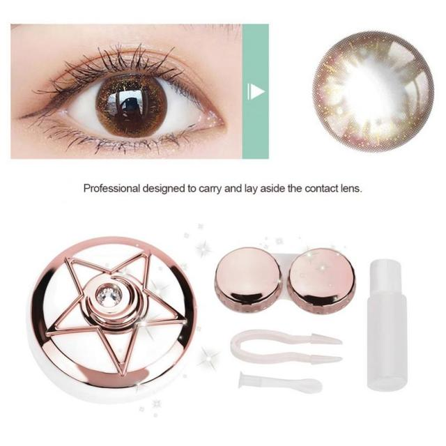 3 Colors Portable Contact Lens Box With Mirror Pentagram Shape