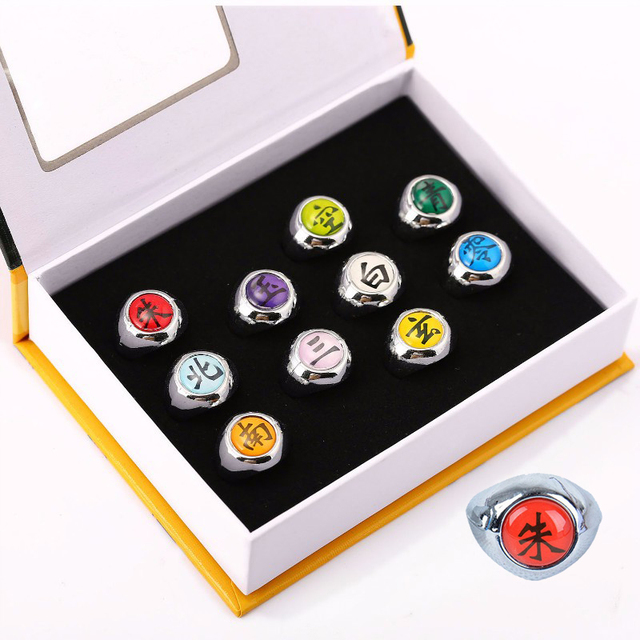 Anime Naruto Rings 10pcs Pack Full Set