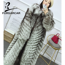 FURSARCAR New 2018 Real Fur Coat Women Winter Luxury Silver Fox Jacket O-Neck Full Pelt Long style Thick Warm