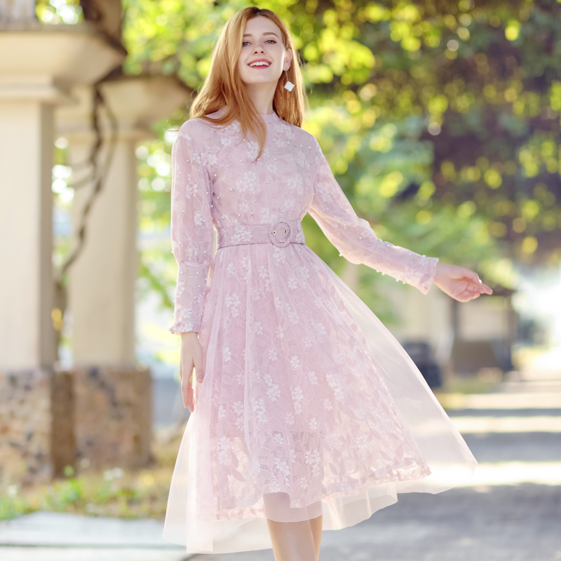 New autumn women lace dress mesh sashes A line floral hollow long sleeves dress solid elegant pretty chic pink apricot dress