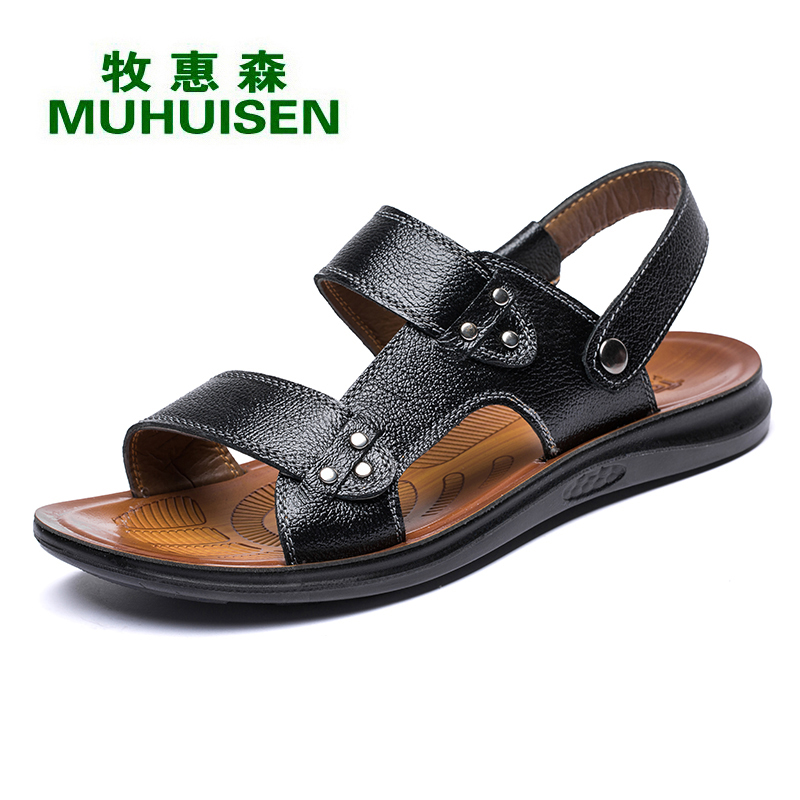 Muhuisen Black Summer Men`s Sandals With Top Quality Genuine Leather Men Casual Sandal For Fashion Men Cowhide Leather Sandals casual men s sandals with striped and velcro design