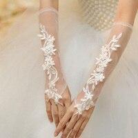 Vestidos de novia2018 new white lace apartament dla nowożeńców rękawice Elbow długość bride rękawiczki ślubne rękawiczki tanie hurtowych