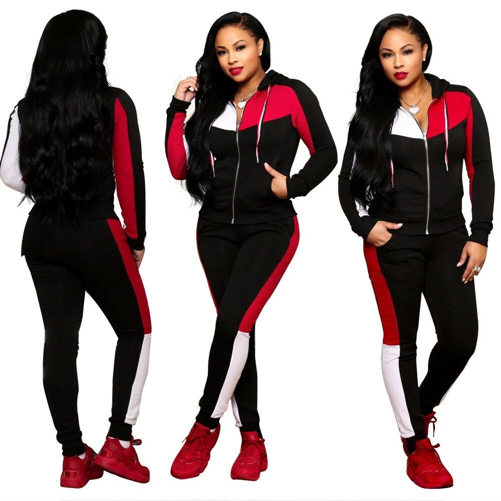 Cor da moda costura das mulheres long-sleeved terno dos esportes casuais dois-peça