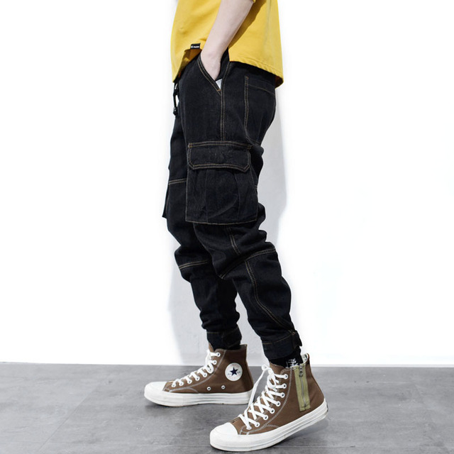 High Street Fashion Men Jeans Vintage Black Loose Fit Big Pocket Cargo Pants Men Taper Trousers Streetwear Hip Hop Jogger Jeans